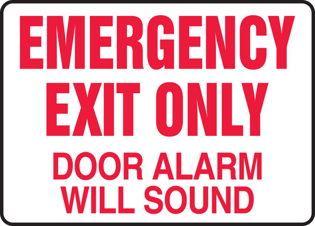 Accuform Signs MEXT591VS Adhesive Vinyl Safety Sign Legend \ EMERGENCY EXIT ONLY DOOR ALARM WILL SOUND\  7\  Length x 10\  Width x 0.004\  Thickness ...  sc 1 st  Amazon.com & Accuform Signs MEXT591VS Adhesive Vinyl Safety Sign Legend ...