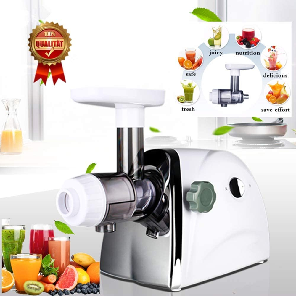 Household Wheatgrass Juicer Multifunctional Electric Fruit Juicers Orange Apple Slow Masticating Juice Extractor Machine Original Healthy Juice Cold Press Juicer Maker (White)
