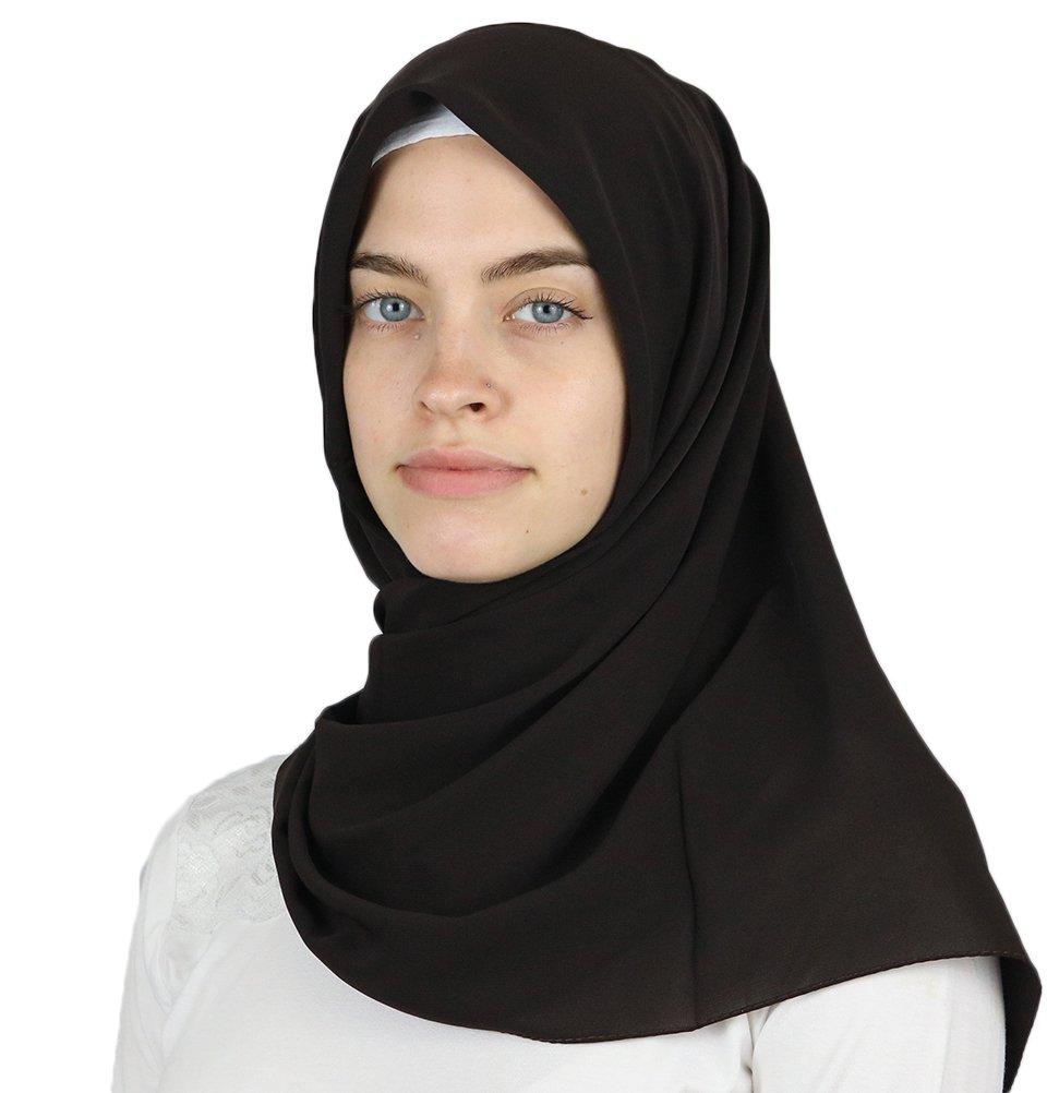 Medine Square Solid Chiffon Turkish Hijab Islamic Scarf 42x42in (Dark Brown)