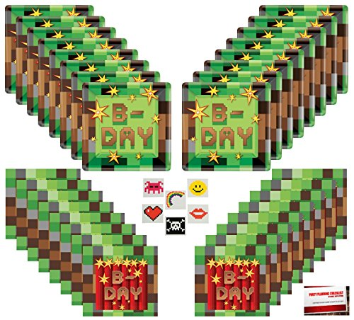 Minecraft Inspired Pixel Happy Birthday Party Supplies Bundle Pack for 16 (Plus 16 Pixel Stickers and Party Planning Checklist)