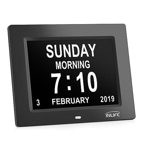 Large Display Digital Calendar Clock,INLIFE Impaired Vision Dementia Day  Alarm Clock with 2 Auto-Dim, 8 Alarm Options for Seniors, Elderly, Memory
