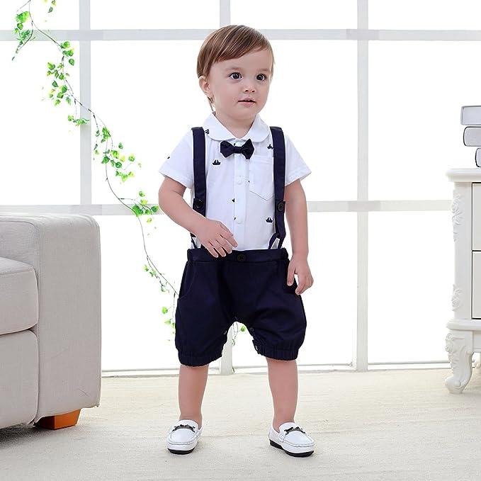 puseky Neugeborenes Baby Jungen Herren Anzug Fliege Strampler Overall Outfits Kleidung