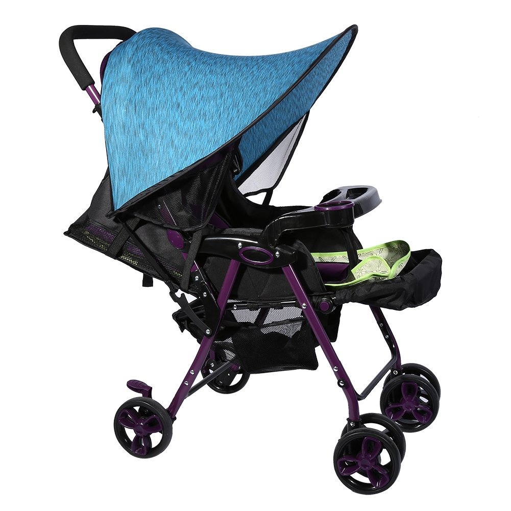 2 Colors Baby Stroller Pram Sunshade Universal Buggy Infant Car Seat Canopy Flexible Lycra Sun Blocking Cover (Blue) by GLOGLOW