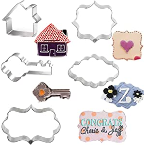 Dxary Key House Cookie Cutters Set, 5 Pieces Stainless Steel Plaque Frame Pastry Biscuit Cookie Cutter Kit Gingerbread House Cookie Cutter and Key Fondant Cutter for Chocolate Candy Cake Decor (House)