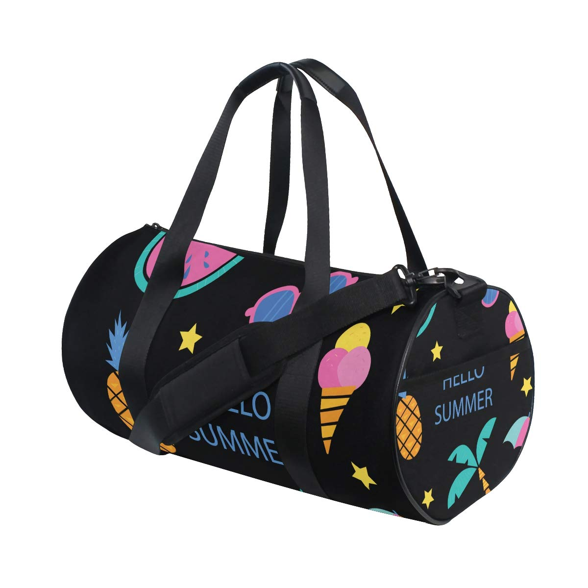Large Duffel Bag Sports Bag Gym Bag for Women and Men - Summer Palm Pineapple