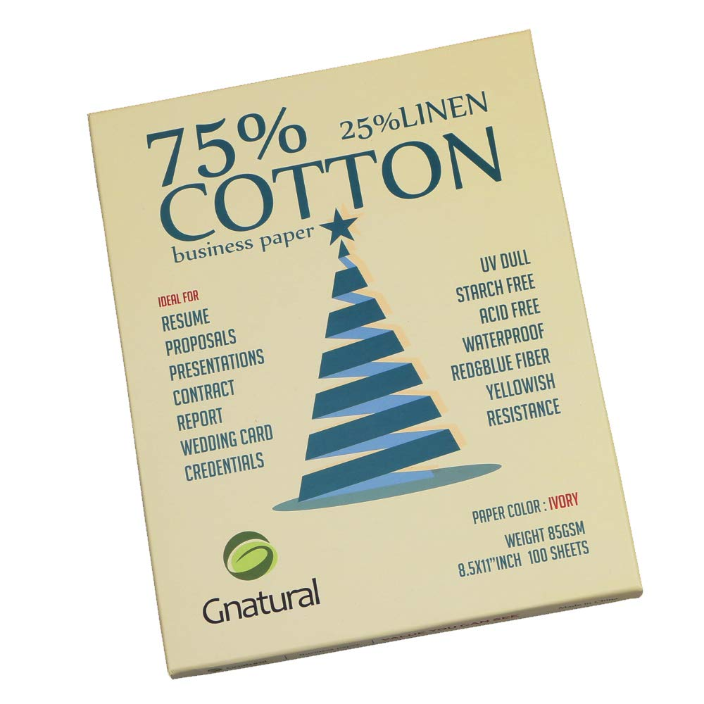 Neutral 75% Cotton 25% Linen Paper,85gsm Inkjet Laser Printing Paper,8.5''x11'' Ivory Color,100sheets Waterproof Cotton Paper