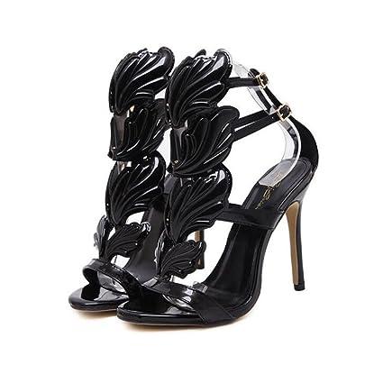 061cbf74fff CSDM Women Stiletto Heel Metal Wings High-Heeled Exposed Toe Sandals Gold  Nude Black