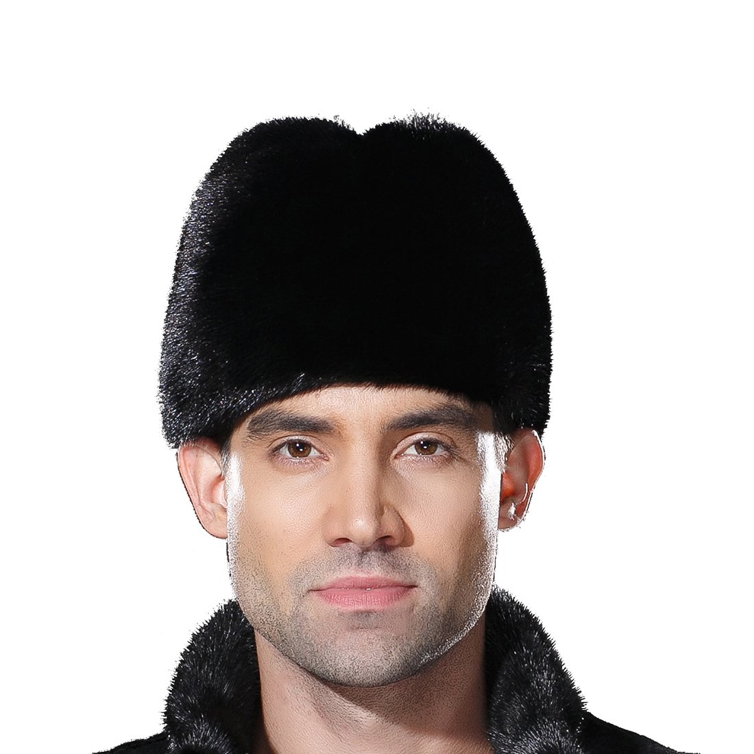 URSFUR Mens Winter Russian Cossack Hat Real Mink Fur Cap Black