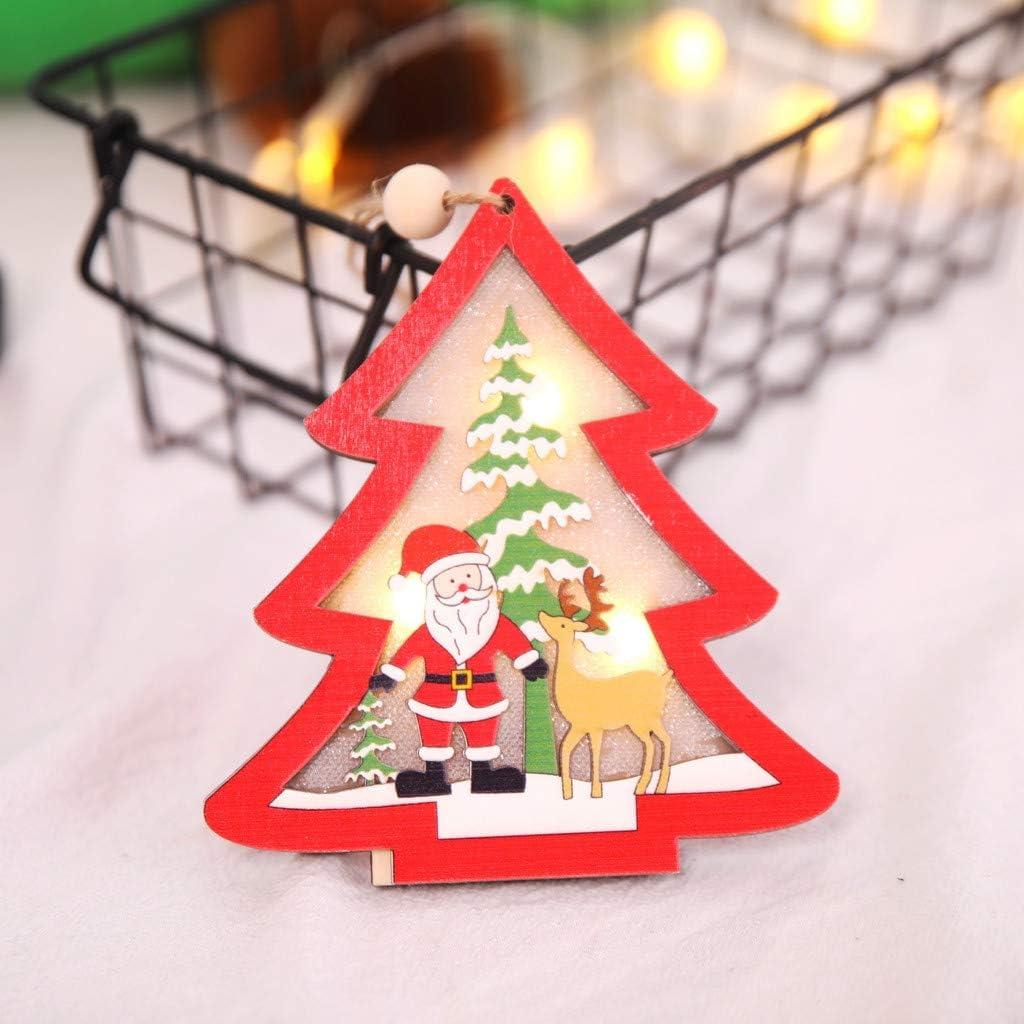 *DC Deer Cute Mini Wood Hollow House Christmas Light Tree Hanging Decor