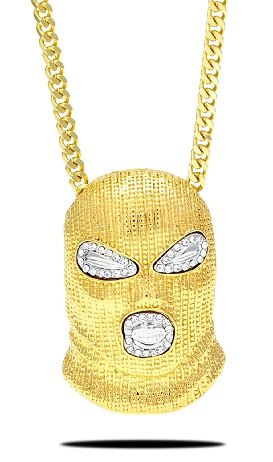 Xusamss Hip Hop Stainless Steel Crystal Mask Pendant Chain Necklace,27inches
