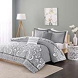 intelligent design isabella all seasons comforter set 5 piece grey printed pattern fullqueen size includes 1 comforter 2 shams 2 decorative