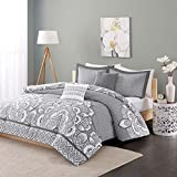 Intelligent Design Isabella Comforter Set Full/Queen Size - Grey, Geometric Damask – 5 Piece Bed Sets – Peach Skin Fabric Teen Bedding For Girls Bedroom