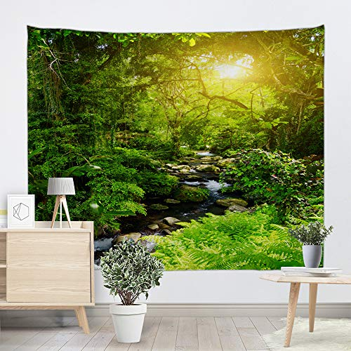 UHUSE Rainforest Mountain Stream Tapestry-Mountain Stream in A Tropical Rain Forest Foliage Countryside Wilderness Scene Decorations Wall Hanging for Bedroom Living Room(51X59Inches) ()