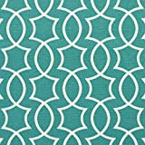 A279 Outdoor Indoor Marine Upholstery Fabric By The Meter | Contemporary Intertwined Lattice Geometric Shapes - Teal and White