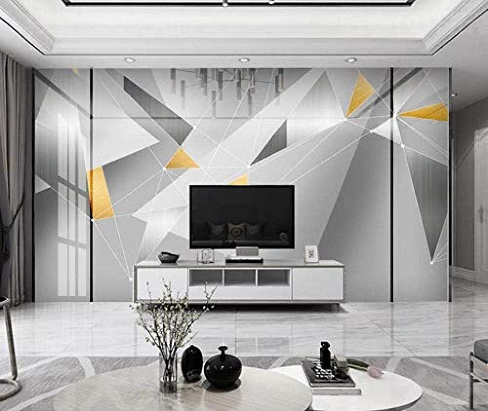 Papel pintado MuralCartel de decoración de la pared del hogar Papel tapiz moderno abstracto geométrico gris plateado dorado-150cmx105cm (ancho x alto)