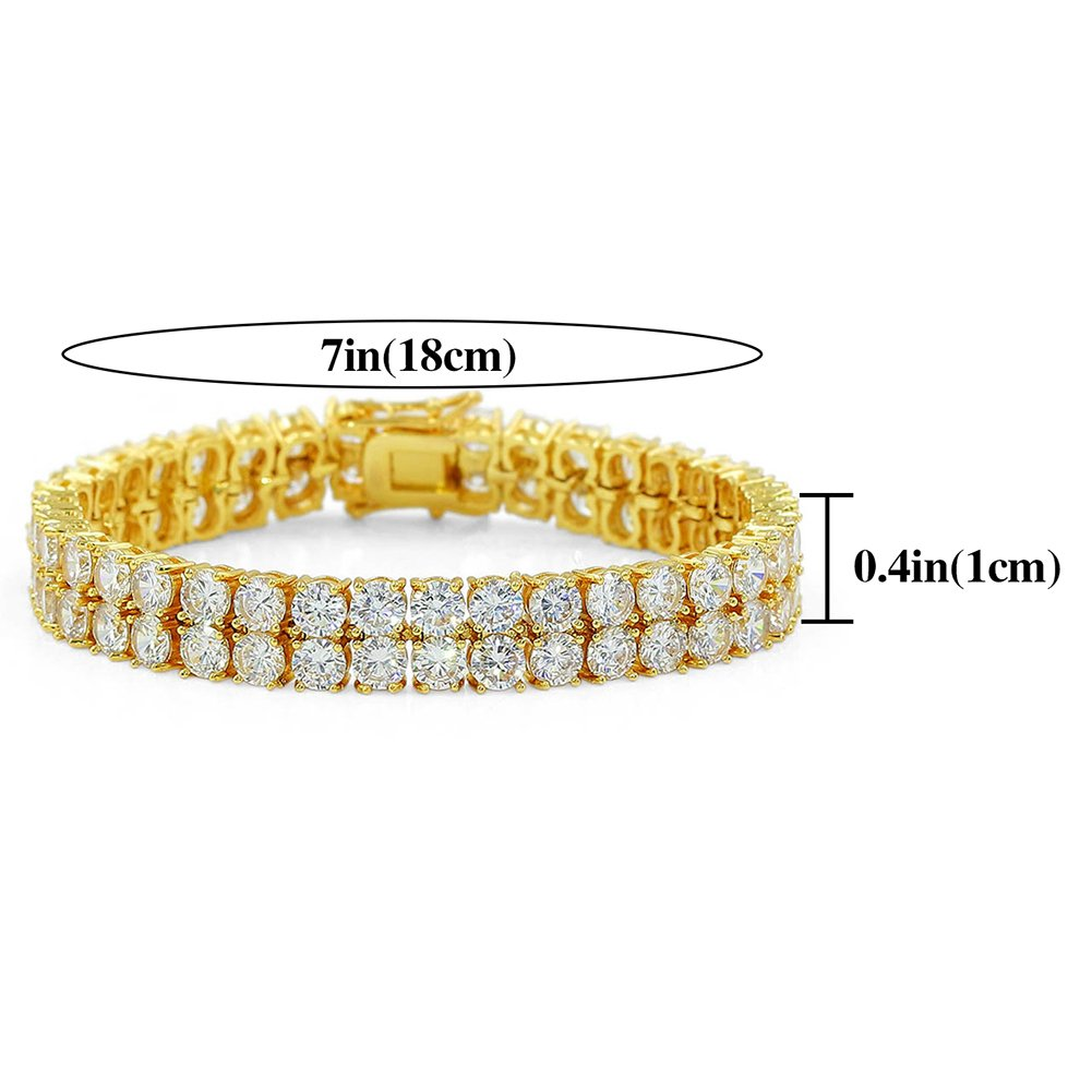 """JINAO 2 Rows AAA Gold Silver Iced Out Tennis Bling Lab Simulated Diamond Bracelet 8"""" (7'' Gold) by Jin'ao (Image #3)"""