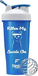 Forza Sports Blender Bottle x 28 oz. Classic Shaker (Kitten My Swole On - Blue)