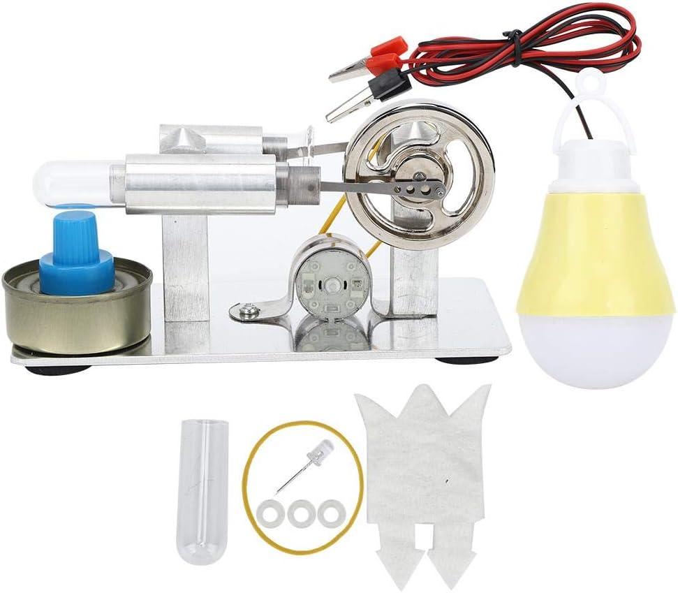 Atyhao Motor Stirling, Modelo de Mini Motor de Vapor Bombilla Modelo de Experimento de combustión Externa Kit de Experimento de física educativa