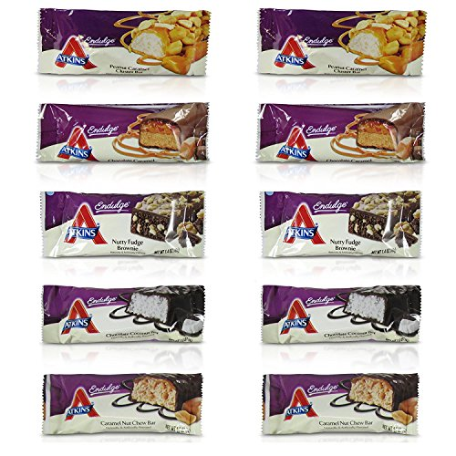 Atkins Endulge Bars Sampler Variety Pack 5 Different Flavors, A Total of 10 Bars by Atkins