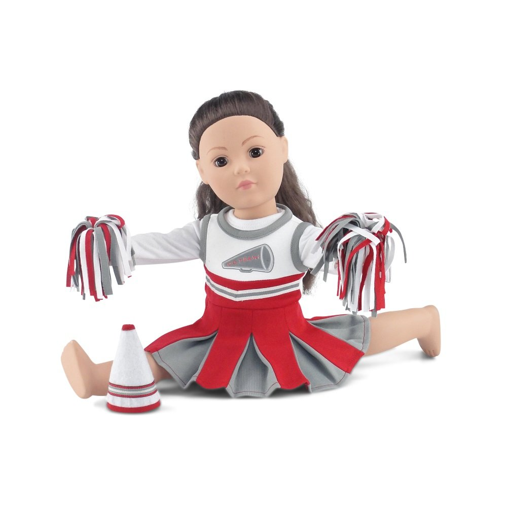 18 Inch Doll Clothes | Amazing Team OSU-Inspired Scarlet and Grey Cheerleading Outfit, Includes Cheerleading Dress, Long Sleeved T-Shirt, Fluffy Pom Poms and Megaphone | Fits American Girl Dolls