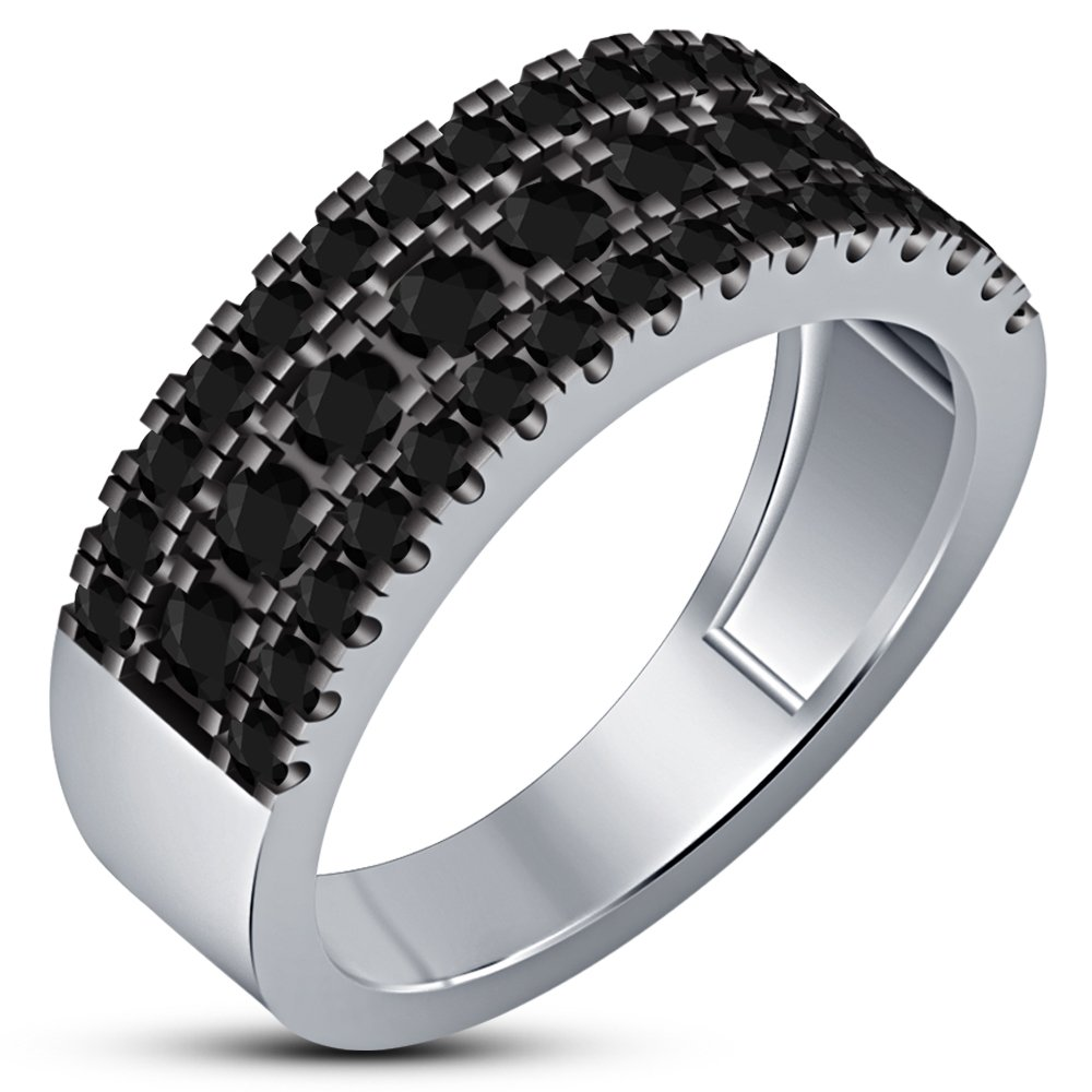TVS-JEWELS White Platinum Plated 925 Sterling Silver Round Cut Black CZ Mens Band Wedding Ring