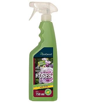 GroGreen Feed & Shine rosas 750 ml listo para usar, pulverizador. Rosas fertilizantes líquidos