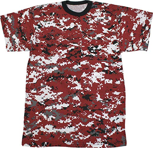 Army Universe Red Digital Camouflage Short Sleeve T-Shirt Pin - Size Large -