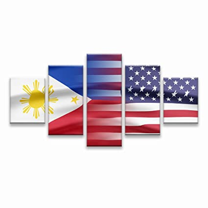 Philippines And USA Flag Wall Art Canvas Prints Filipino Philippine National Flags Home Decor For Living