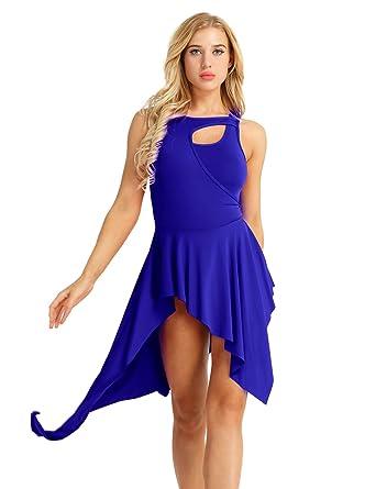 20385adec31a CHICTRY Women Crew Neck Lyrical Ballet High Low Dance Dress Leotard Costume  Blue X-Small