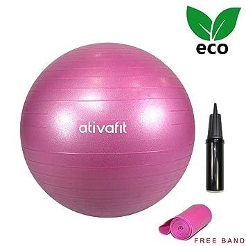 Ativafit 65 cm pelota de equilibrio de gimnasia con bomba de mano y cinta  de ejercicio 95a0370c7538
