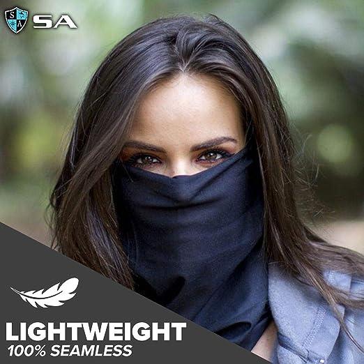 acction 4PCS Reusable Bandanas M/ásk with Eyes Shield Removable Adult Men Women Cotton Face