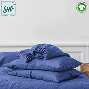 """400 TC GOTS Certified 100% Organic Cotton Queen Sateen Weave Fitted Sheet - Fits Mattress Up to 16"""" Deep Pocket - Supremely Soft & Shiny Close to Nature Biodegradable Sheet - Dark Blue - Queen Fitted"""