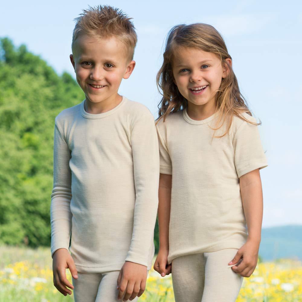 Organic Merino Wool Silk Kids Long Sleeve Thermal Shirt Sizes 2-13 years Engel 707810-KIDS-WOOL-SHIRT Base Layer or Pajama Top