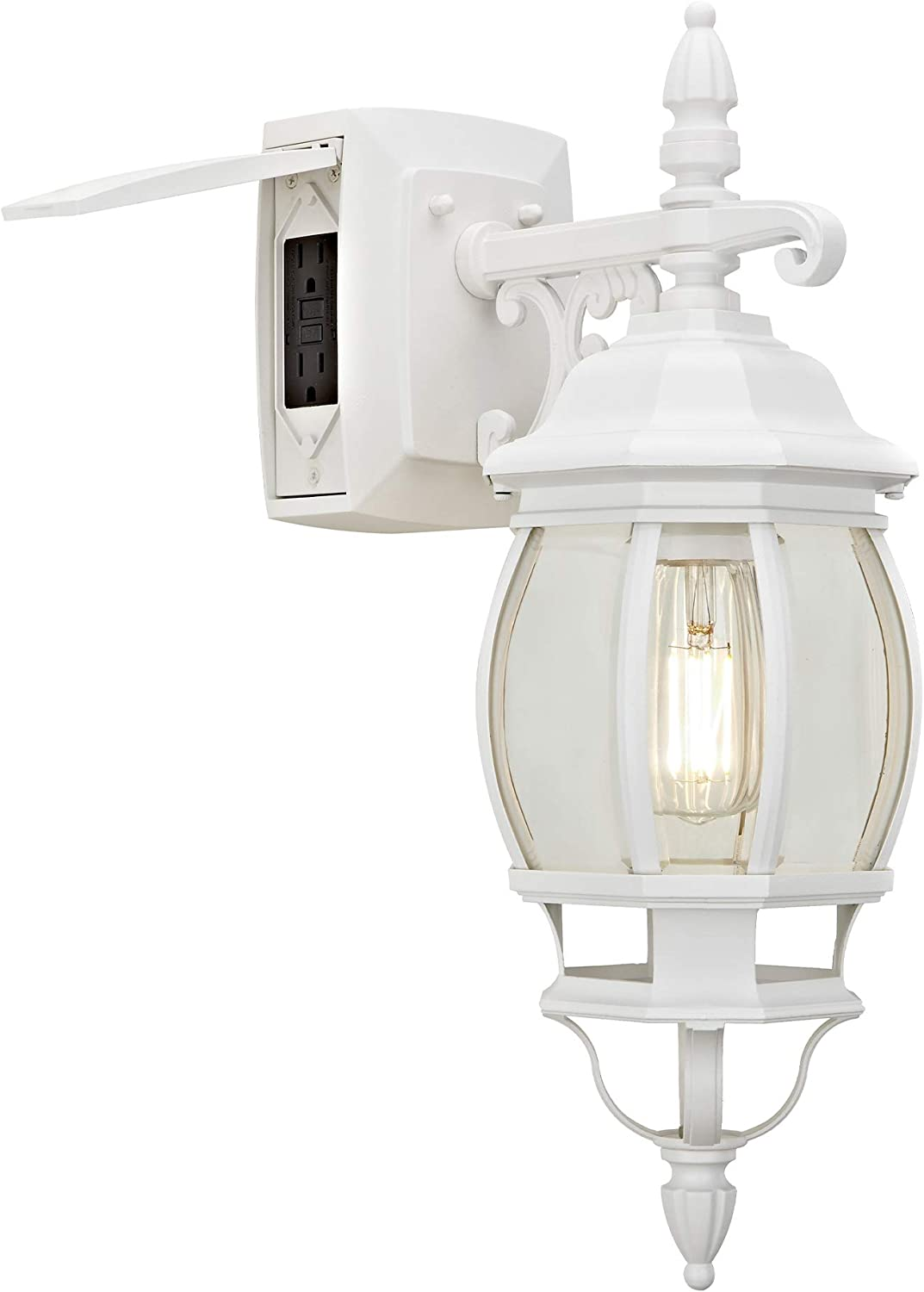 Sunbeam 16891 1 Light Outdoor Wall Sconce With Integrated Gfci Clear Glass White Finish Led Edison Bulb Included Home Improvement
