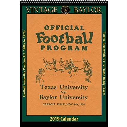 Baylor 2019 Calendar Amazon.: Vintage Baylor Bears 2019 College Football Calendar