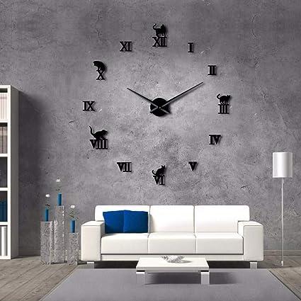 Amazon.com: LLLYZZ Reloj De Pared Grande 3D DIY Grande Moderno Sin ...