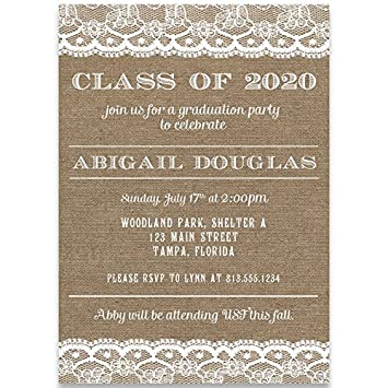 Amazon graduation invitations country lace burlap chic graduation invitations country lace burlap chic shabby open house commencement filmwisefo