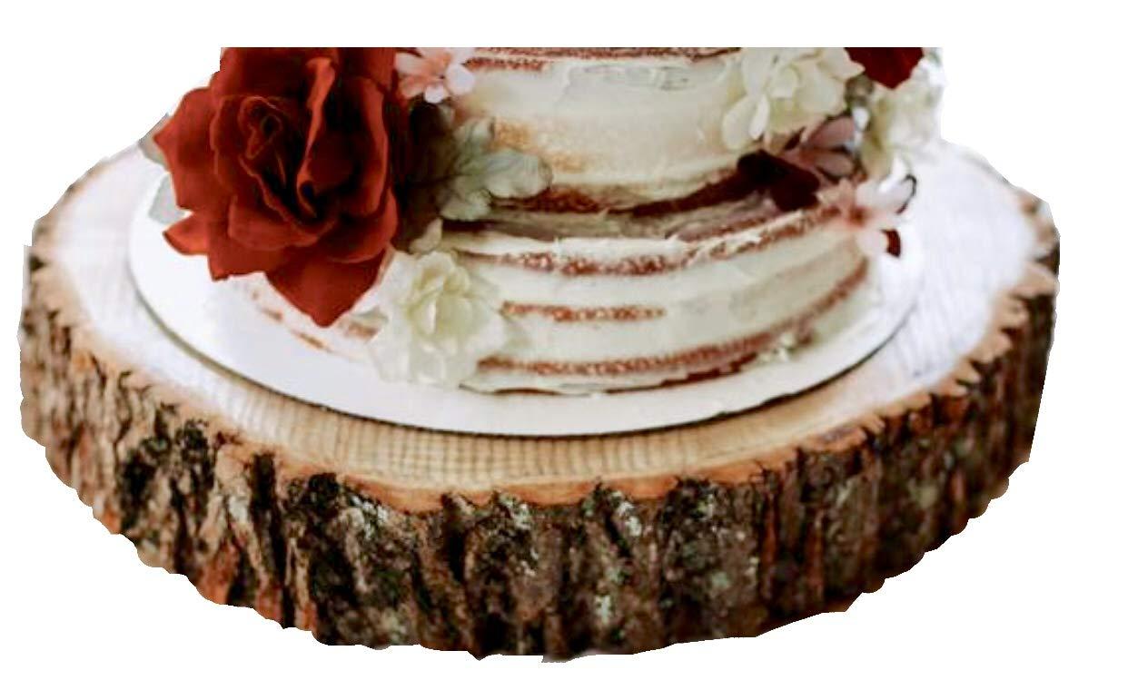 "16 inch Wood Slice Cake Stand, Wood Slab 16 inches, Cake Stand 16 inch, Wedding Cake Stand 16"", Rustic Cake Stand"