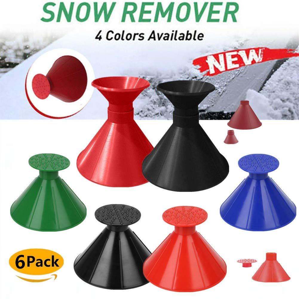 Boscoraggio Magic Scraper Round - Ice Scrapers Magic Funnel Snow Removal Tool Windshield Cone-Shaped Car (6Pack) by Boscoraggio