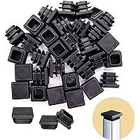 Tapones de plástico para tuberías, 30 x 30 mm, color negro, para tubos cuadrados, protectores de muebles, 20 unidades