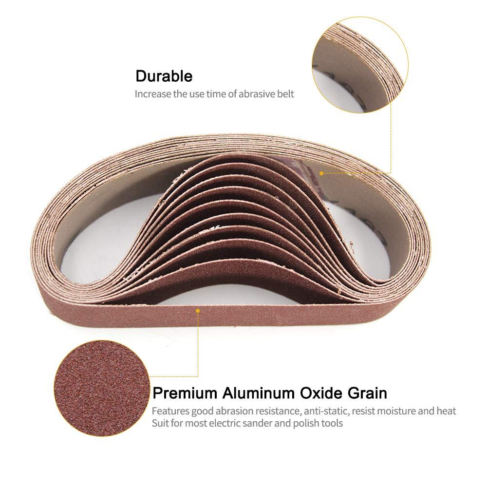 10pcs 30x330mm Cinturones abrasivos de lijado 240 Herramientas de pulido lijadoras de arena para herramientas lijadoras rotativas