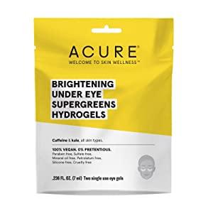 ACURE Brightening Under Eye Super Greens Hydrogels | 100% Vegan |For A Brighter Appearance | Caffeine & Kale - Soothes & Depuffs Tired Undereye Area | 2 Single Use | 1 Count, Yellow (813424021922)