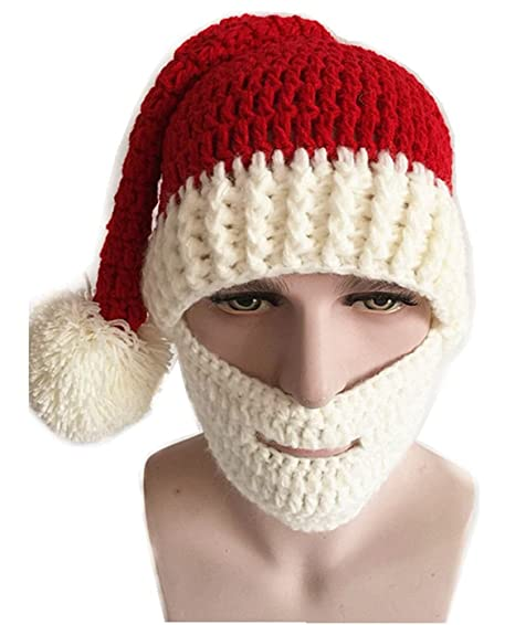 Amazon Christmas Costume Knitted Santa Beanie Hat With Beard