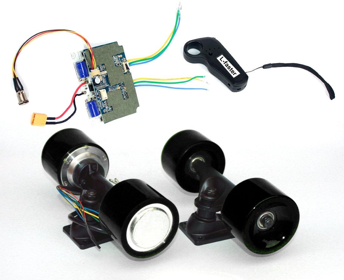電動スケートボードブラシレスハブモーターキットdiy子e-ボード電動4輪スケートボードデュアルドライブ変換キットでリモート B07F2CDQ2S Black kit Black kit