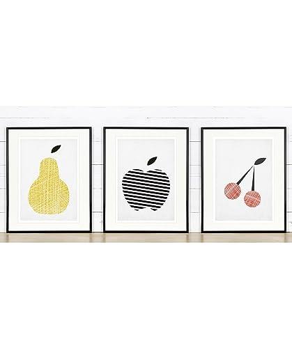 Amazon.com: Kitchen wall decor, apple, pear, cherry, fruit, picture ...