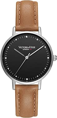 VICTORIA HYDE Retro Women Watches Small Dial Analog Quartz Detachable Genuine Leather Strap Wristwatch for Ladies Brown Black