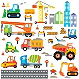 Decowall DW-1612 Construction Site Kids Wall Decals Wall Stickers Peel and Stick Removable Wall Stickers for Kids Nursery Bedroom Living Room