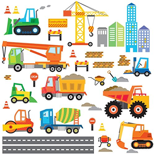 Decowall DW-1612 Construction Site Kids Wall Decals Wall Stickers Peel and Stick Removable Wall Stickers for Kids Nursery Bedroom Living - Truck Wall Dump