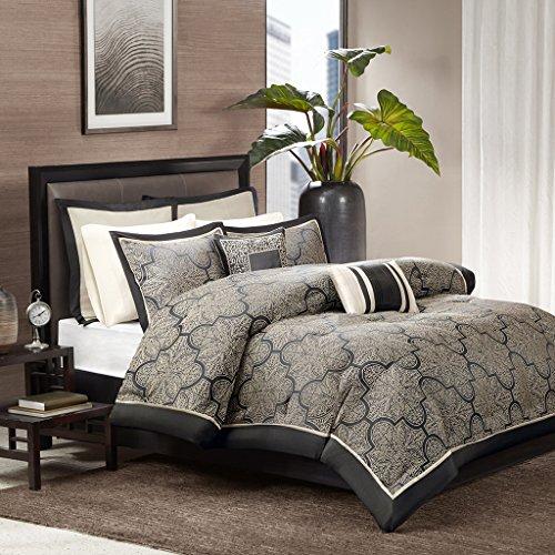 Madison Park MP10-1662 Medina 8Piece Jacquard Comforter Set King , Black, - Gold Woven Comforter Jacquard