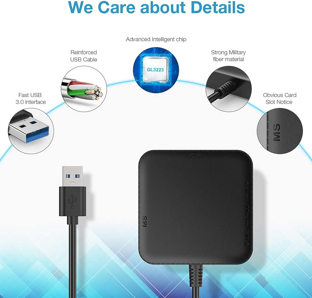 Youshangshipin Card Reader Support TF//SD//CF Mobile Phone Card Camera Card Color : Black USB3.0 High Speed Reading and Writing